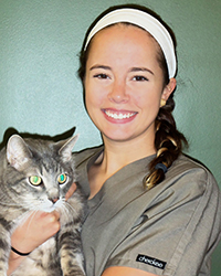Veterinary Technician Jess Hale with Cat