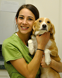 Veterinary Technician Sara with Dog